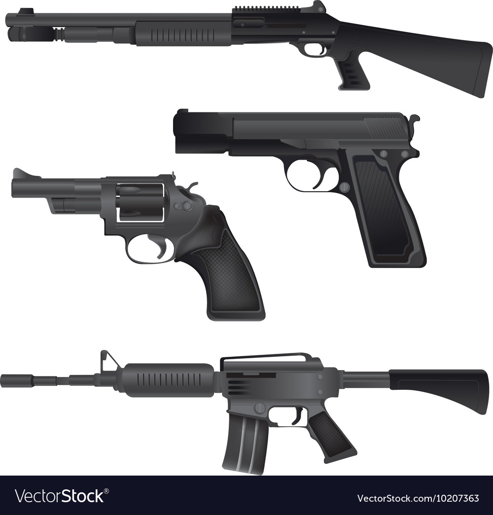 Gun Weapon Crime War Isolate vector image