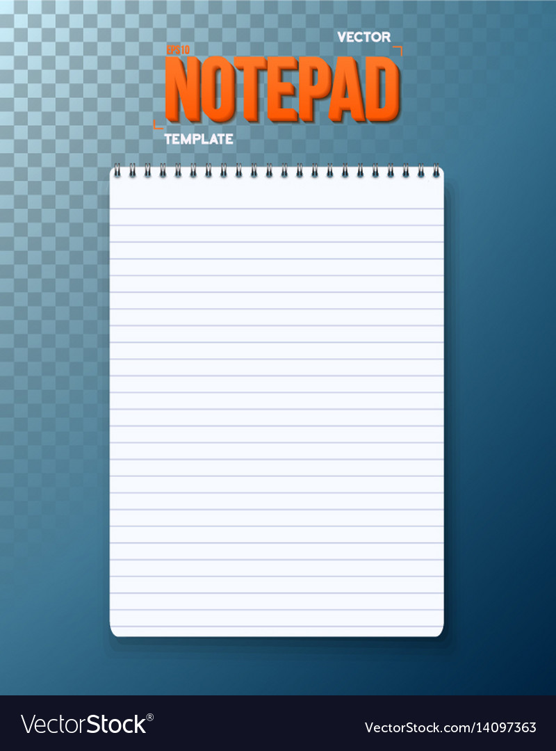 Notepad notebook template vector image