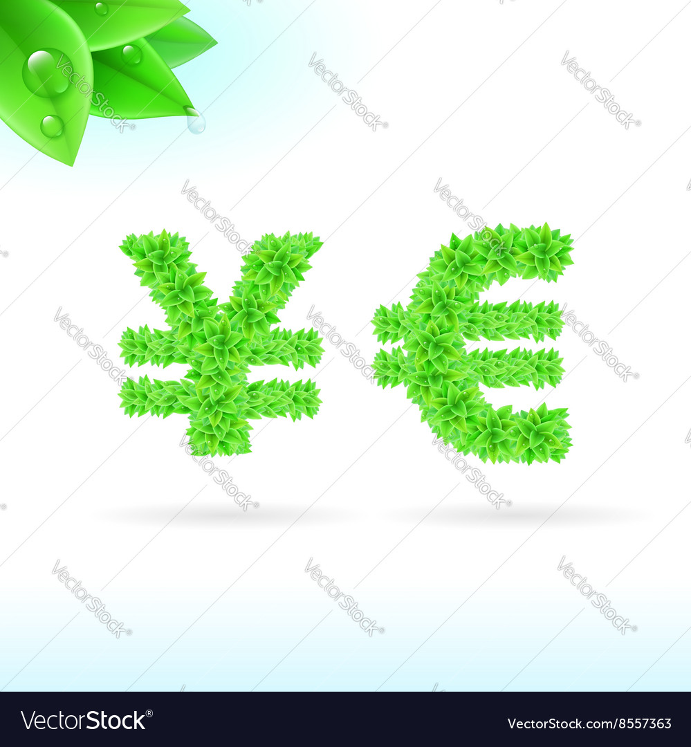 Sans serif font with green leaf decoration vector image biocorpaavc Gallery