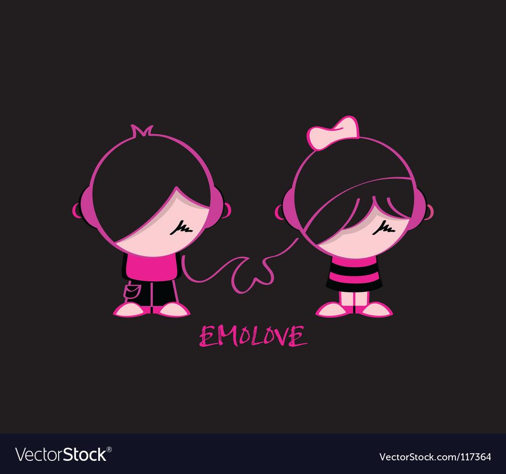 Emo love vector image