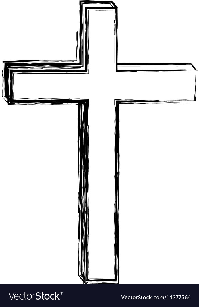 Monochrome sketch contour of wooden cross vector image
