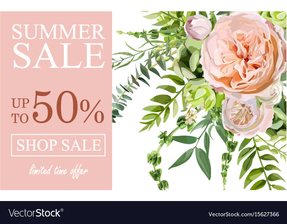 Summer sale banner poster background with pink vector image