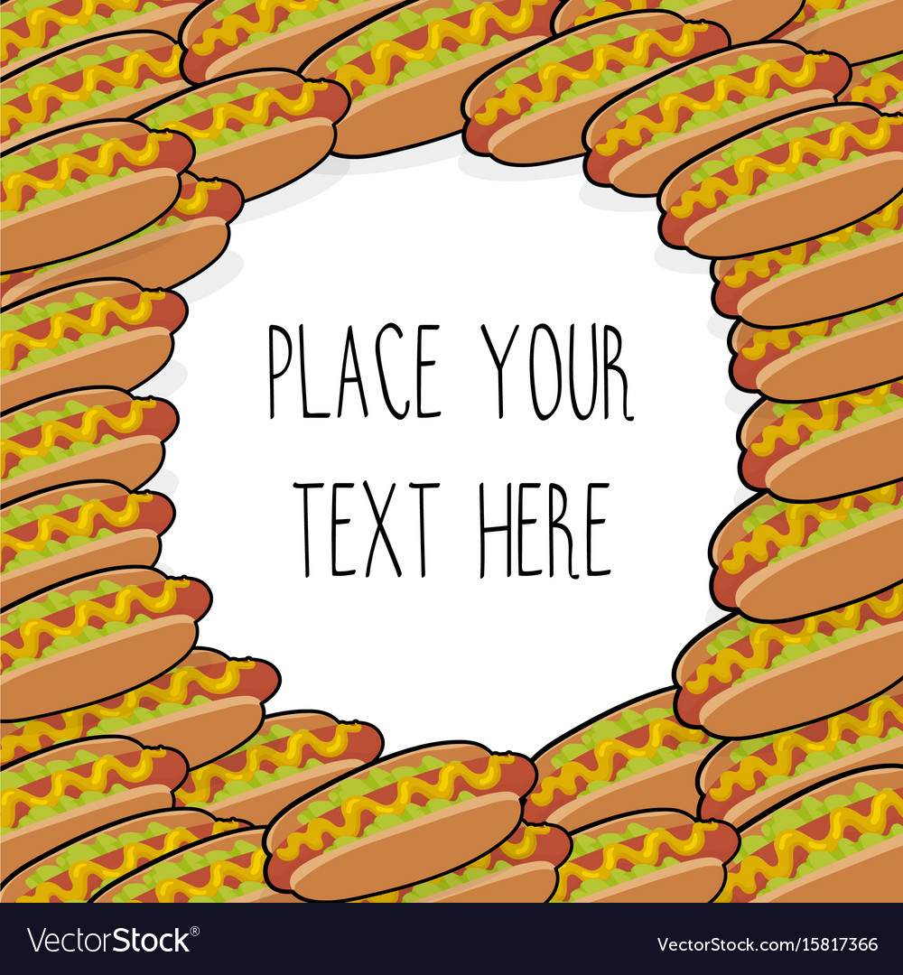 Template with many hot dogs vector image