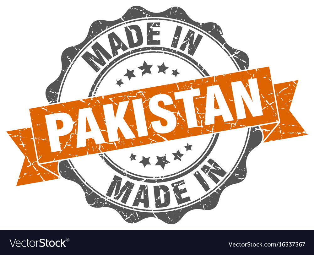 Made in pakistan round seal vector image