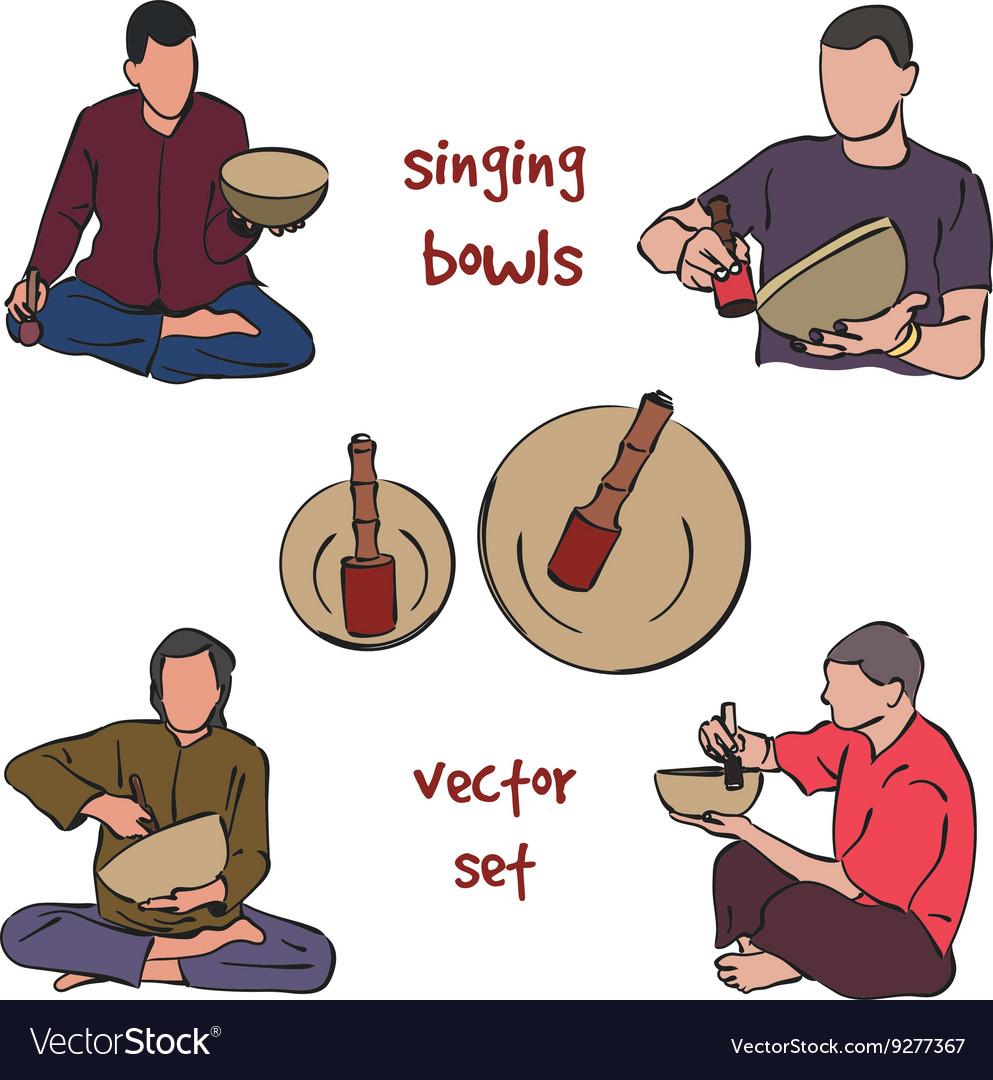 Singing bowls musician set vector image