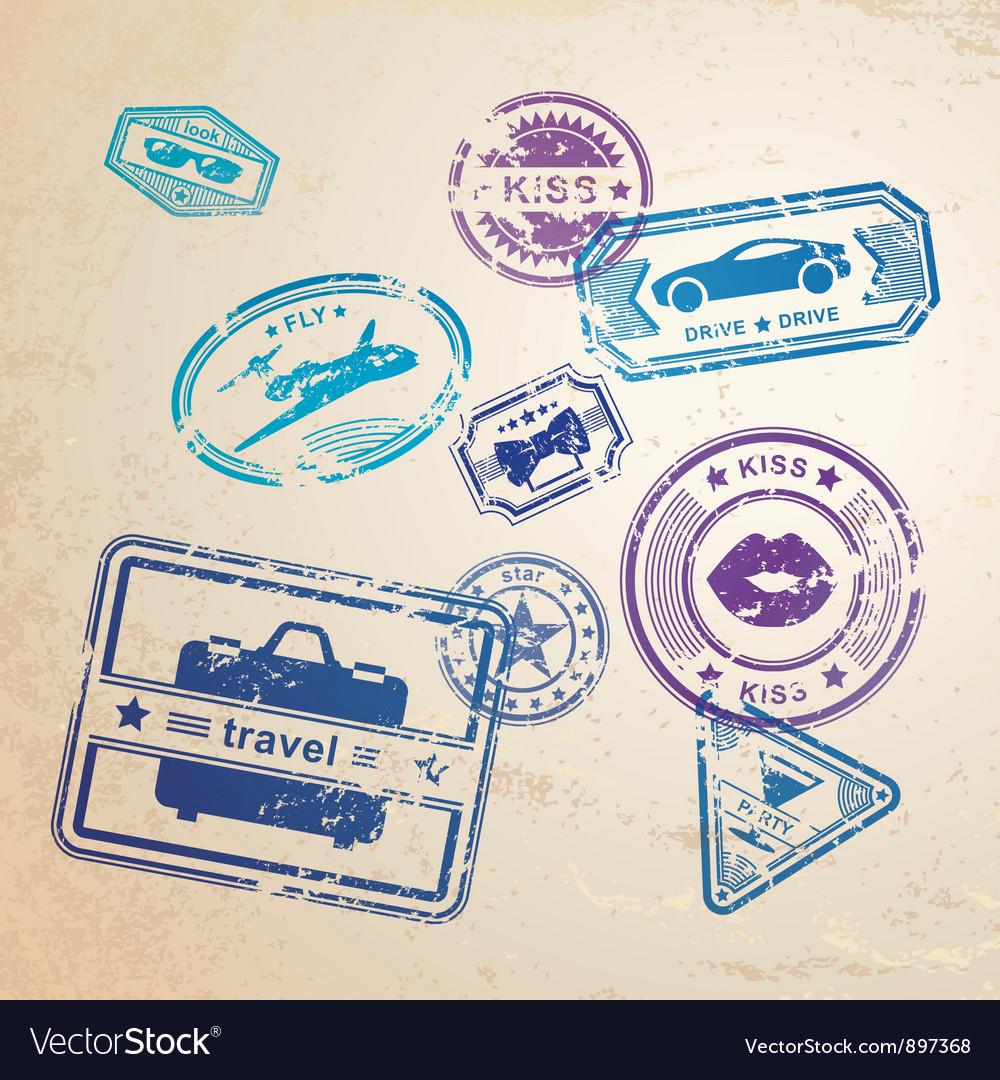 Grunge stamps design elements vector image