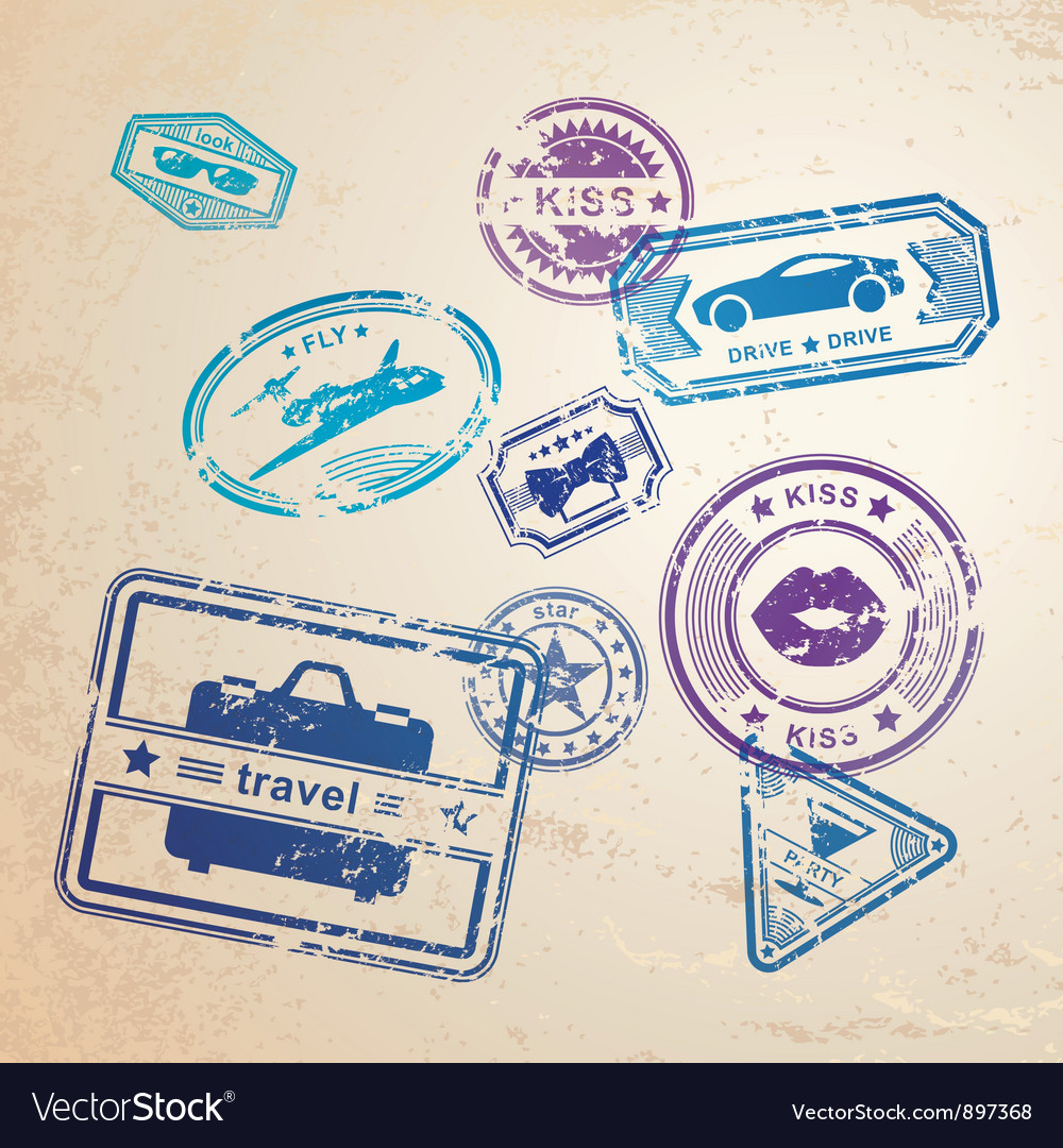 Grunge stamps design elements vector image
