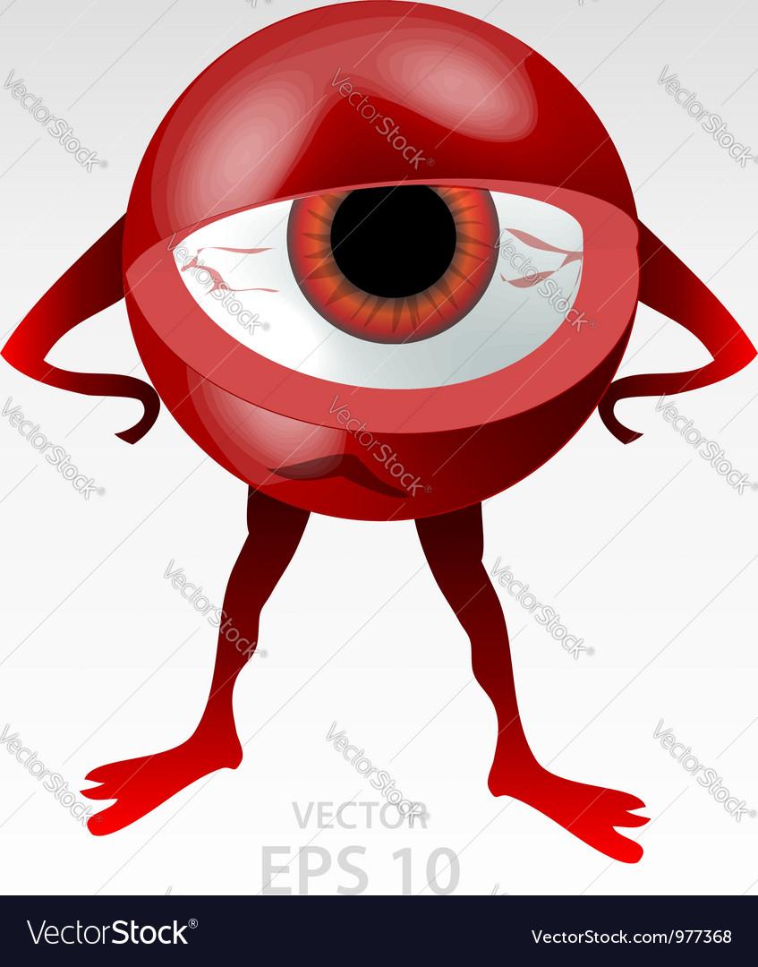 Red angry eyeball mascot vector image