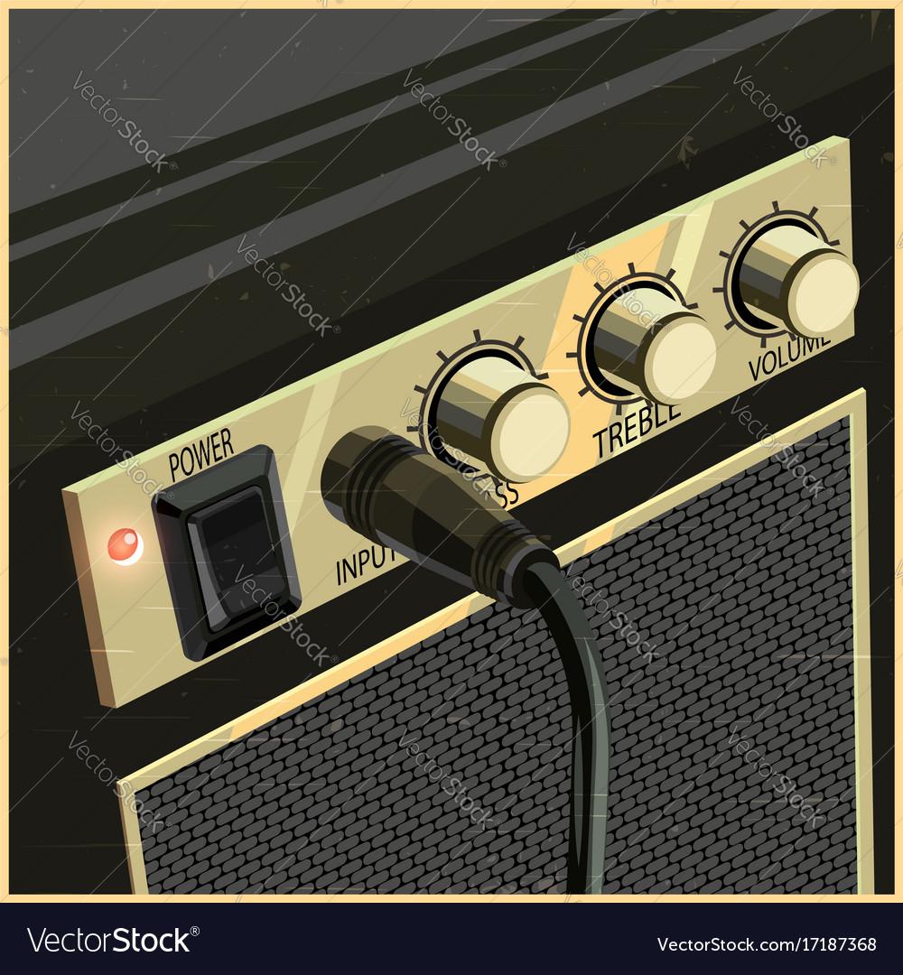 Retro guitar amplifier vector image