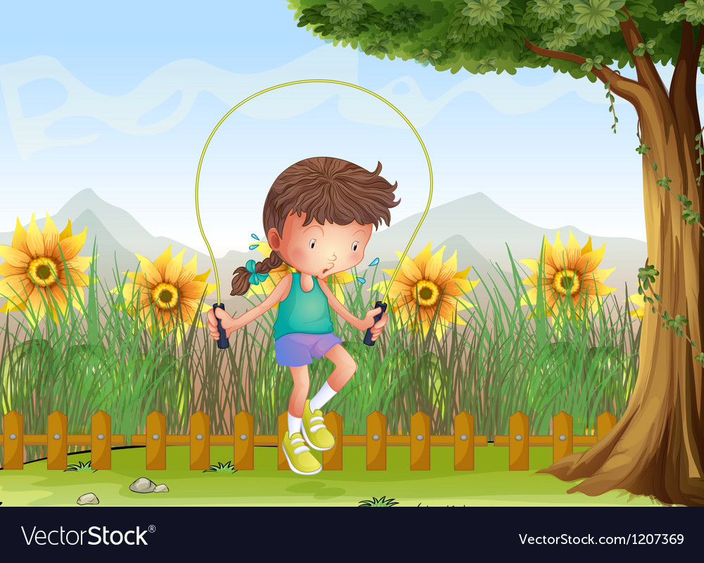A girl playing jumping rope vector image