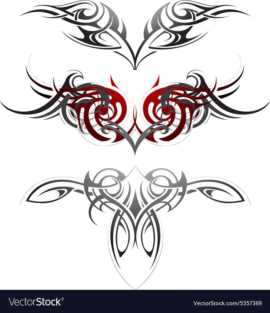 Body art tattoo set vector image