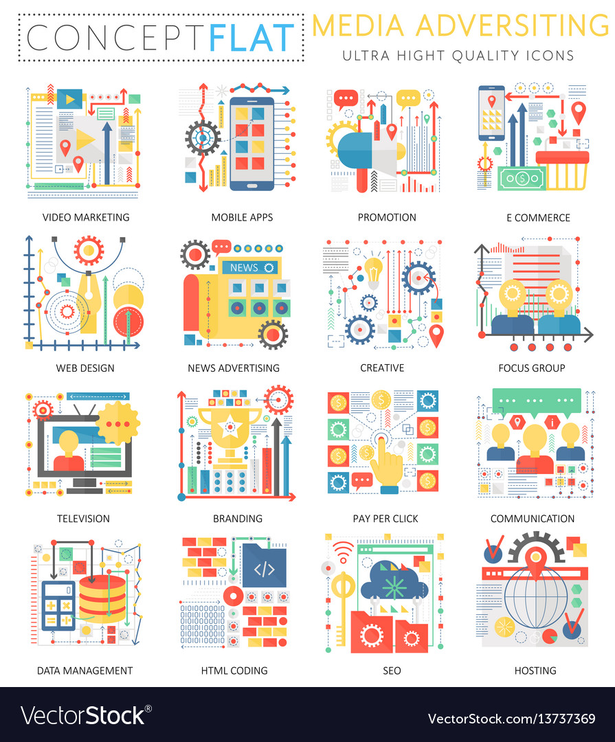 Infographics mini concept media advertising icons vector image