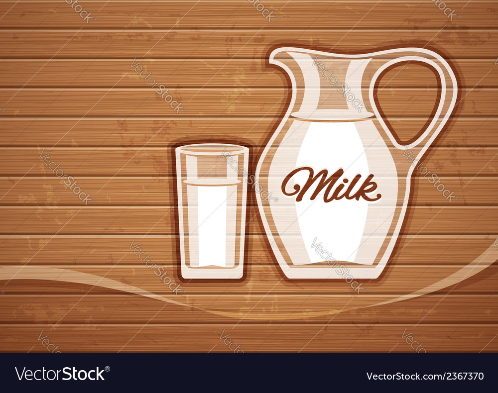 Jug and full glass with milk vector image