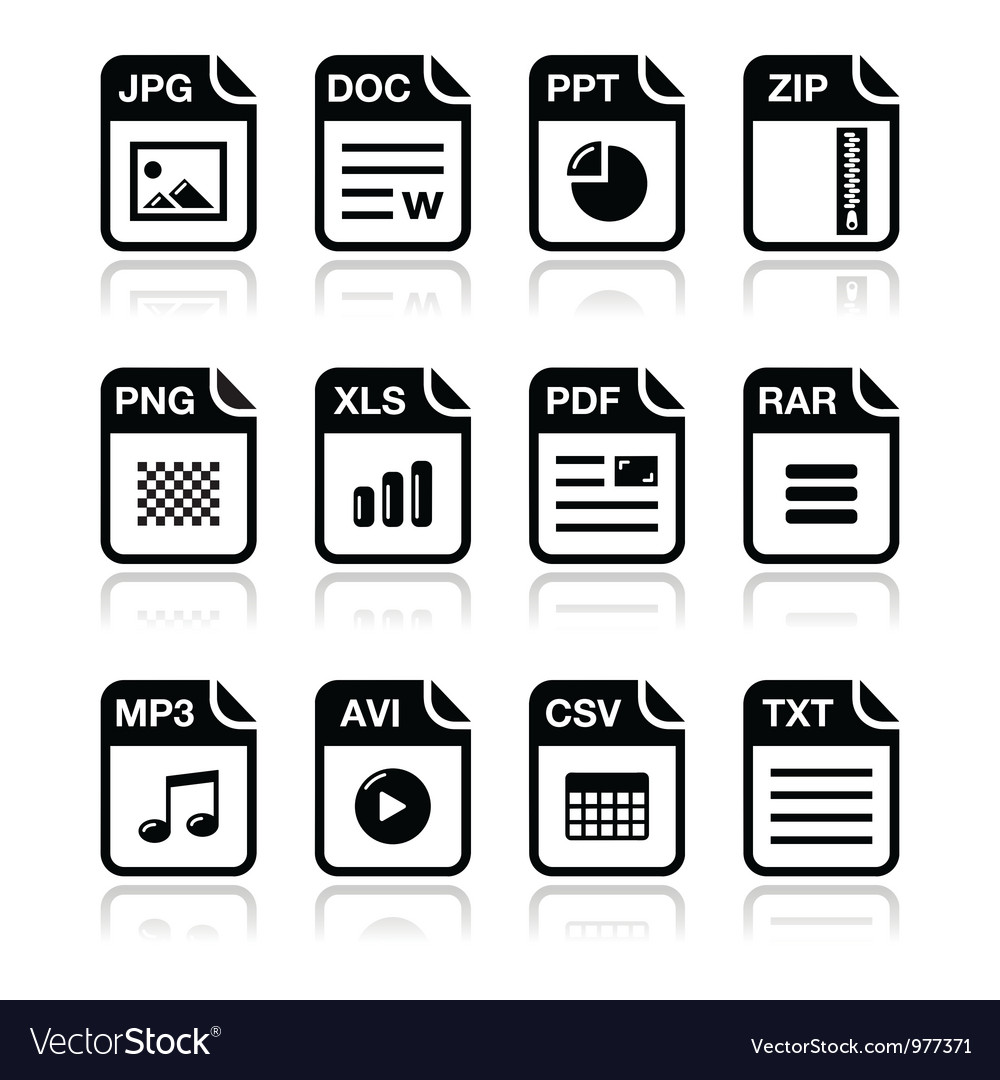 File type black icons with shadow set - zip pdf vector image