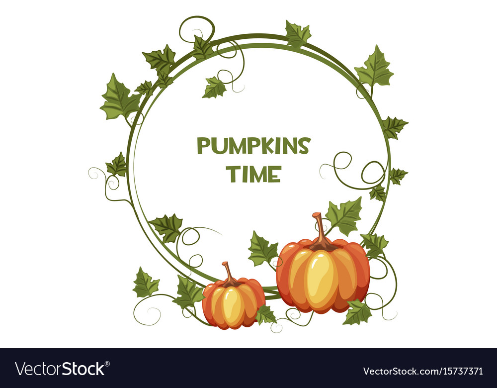 Happy autumn and pumpkin time background wreath vector image