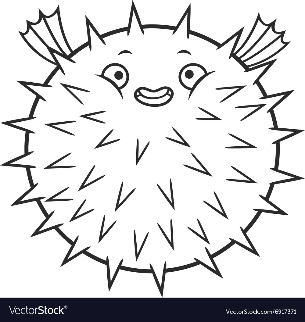 Puffer fish cartoon vector image