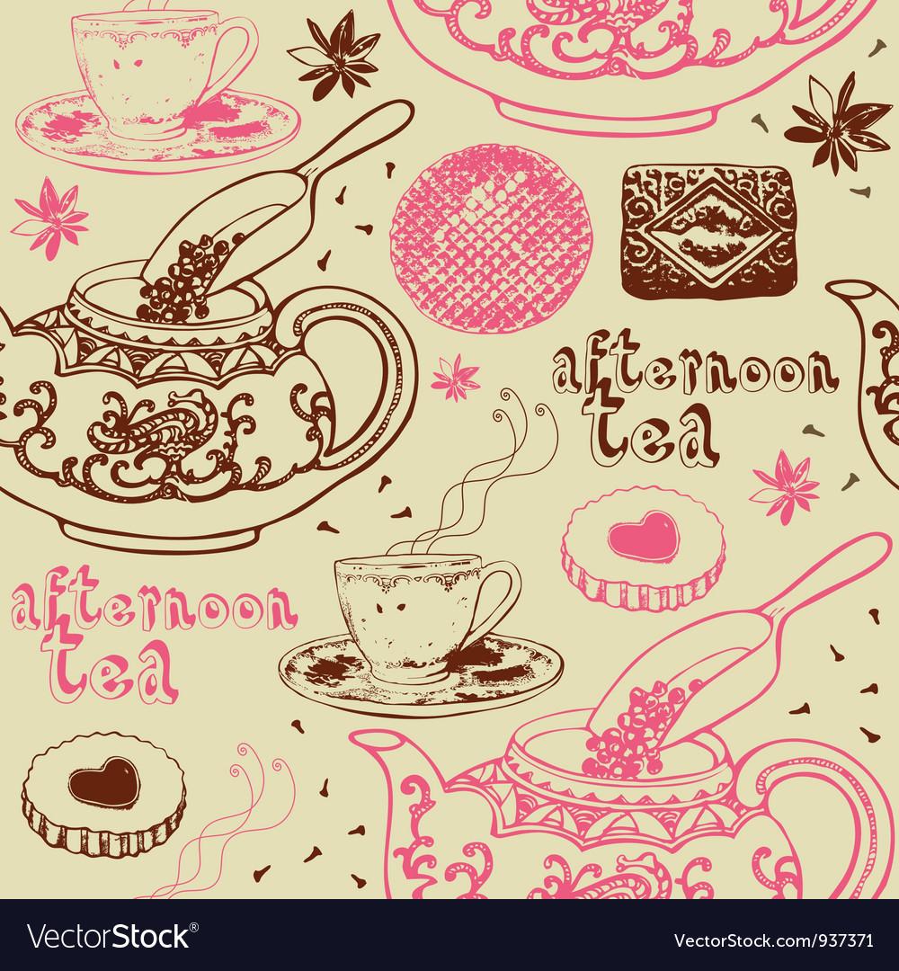 Vintage Afternoon Tea Background vector image