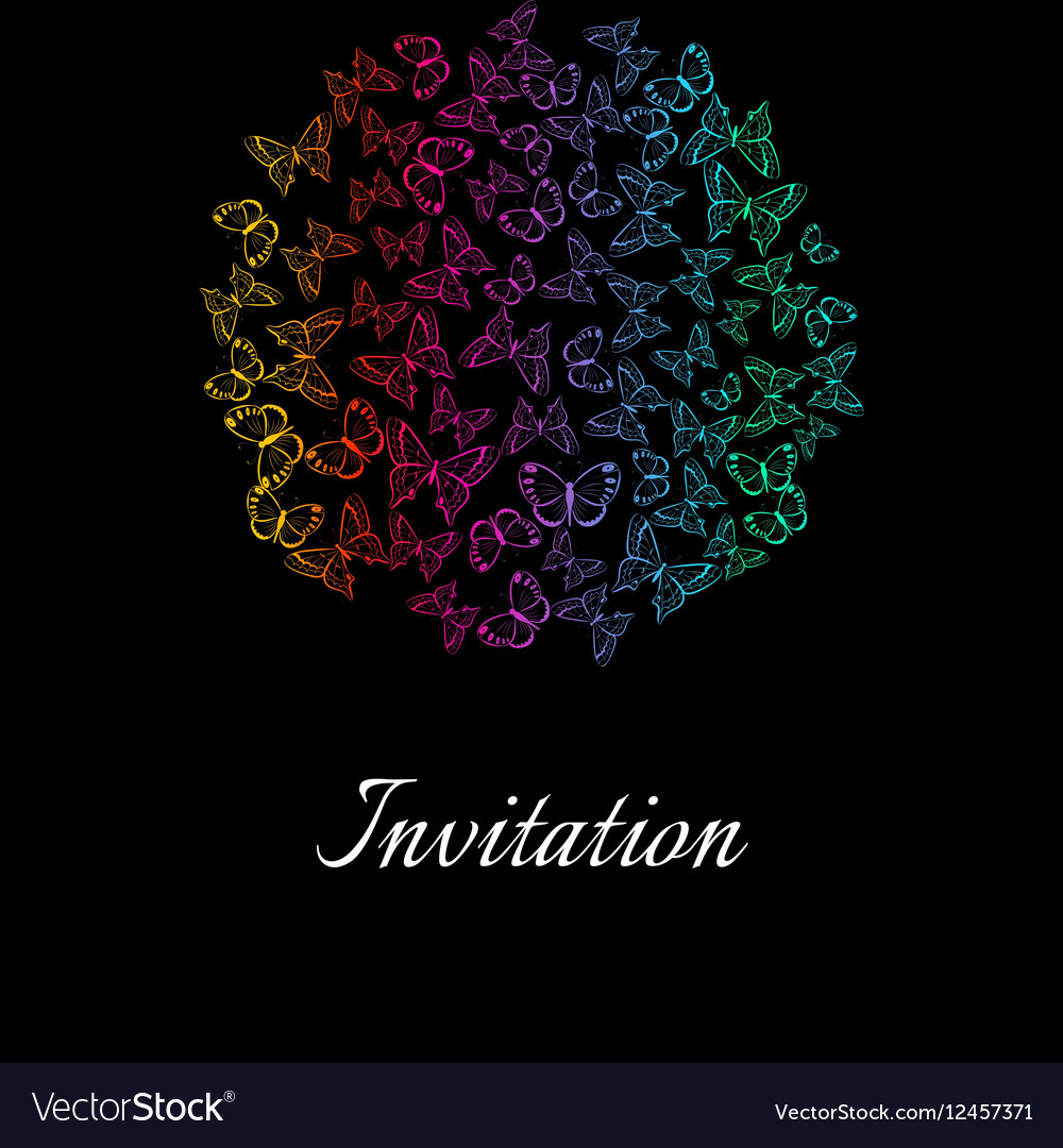 Vintage invitation card with outlined butterflies vector image