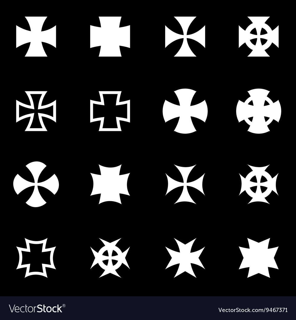 White choppers crosses icon set vector image