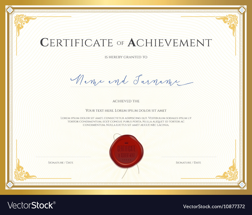 Certificate achievement template analytical report format invoice certificate template for achievement royalty free vector certificate template for achievement vector 10877372 certificate template for xflitez Image collections