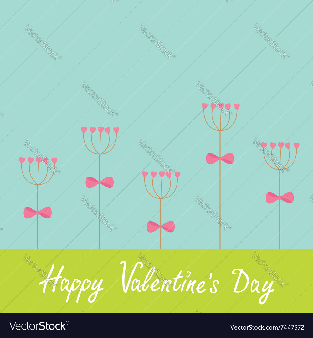Happy Valentines Day Love card Heart stick flower vector image