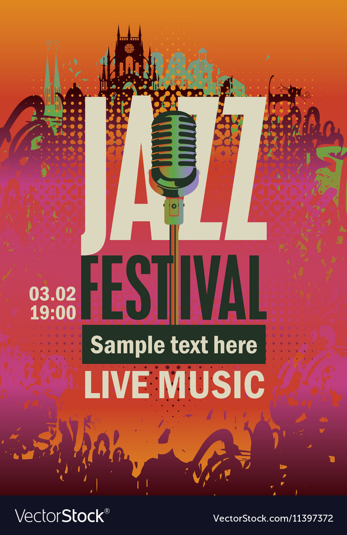 Music poster with jazz festival vector image