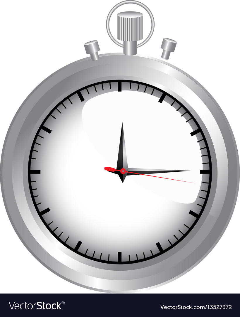 Silver pocket watch icon vector image