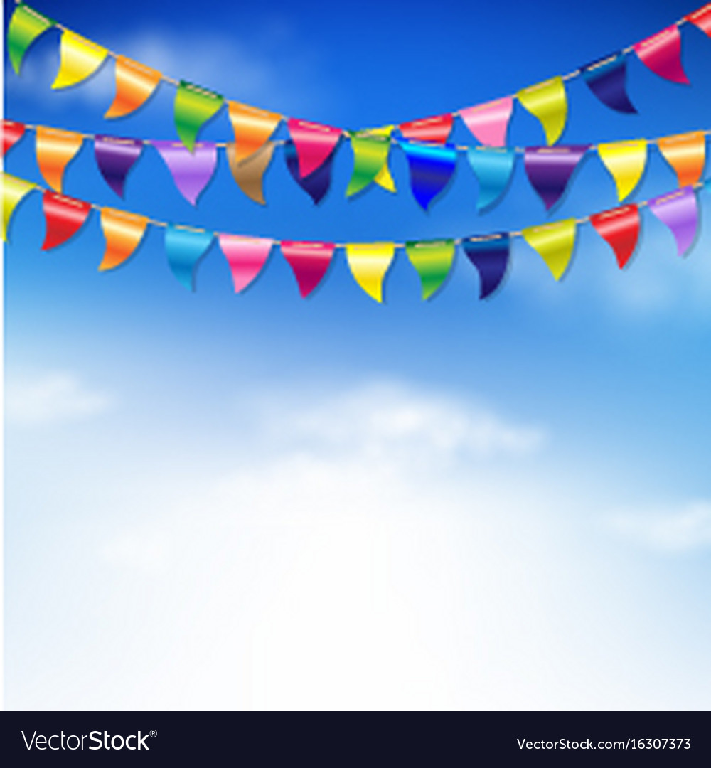 Bunting birthday flags vector image