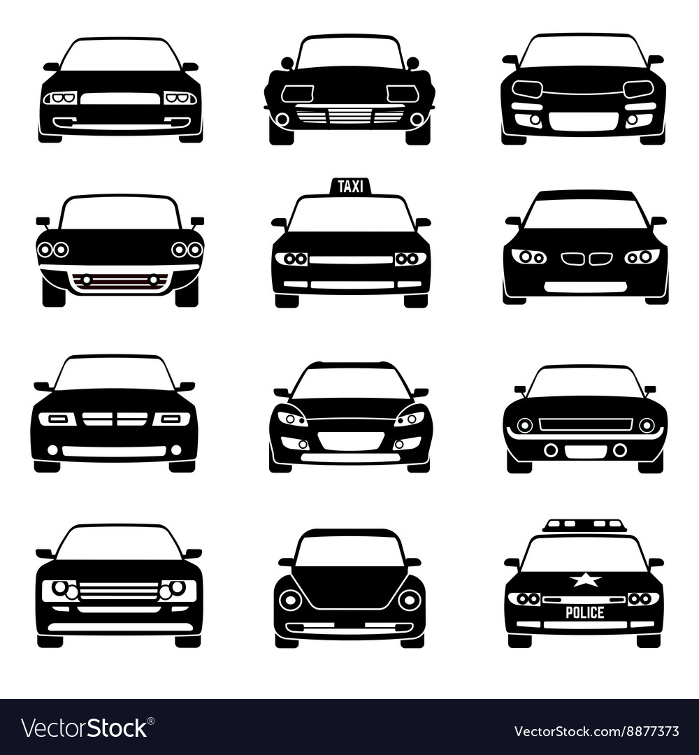 Cars in front view black icons vector image