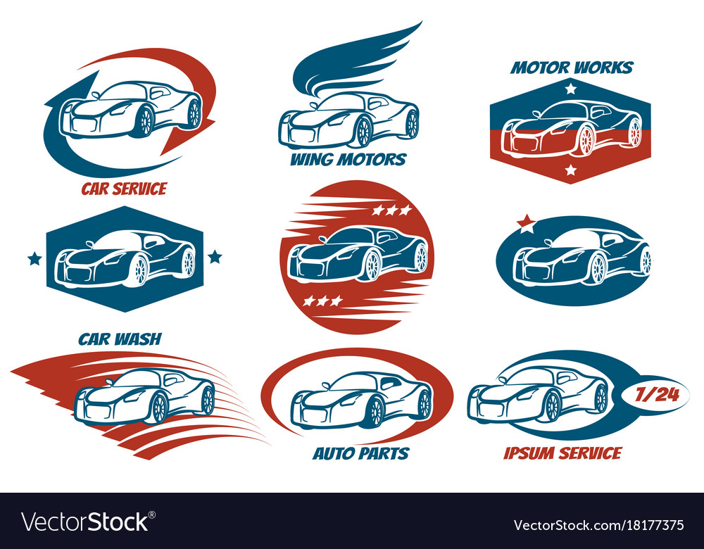 Car service emblem set vector image