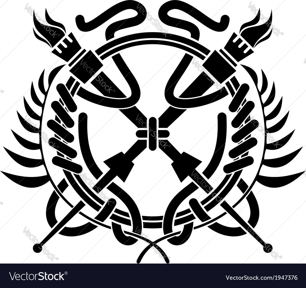 Crossed flaming torches over a laurel wreath vector image