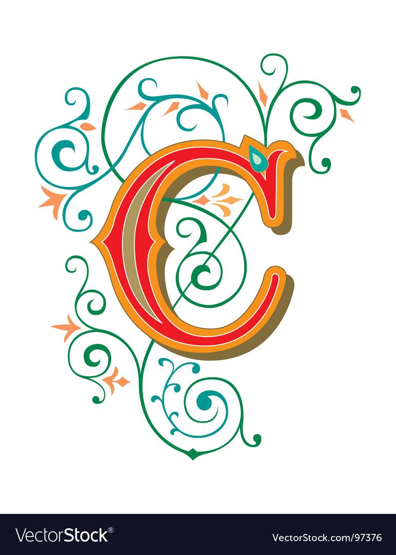 Floral letter c vector image