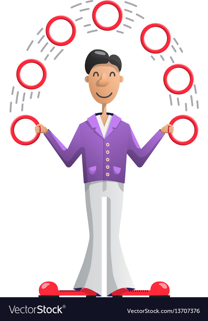 Juggler putting vector image
