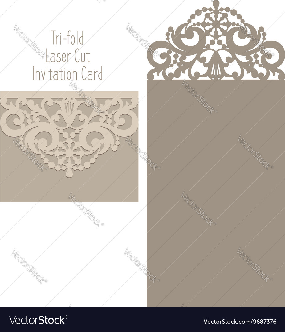 Laser cut envelope template for invitation vector image for Free laser cutter templates
