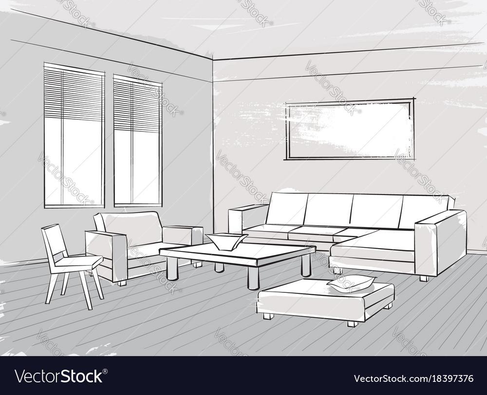 Sketch of interior beautiful room living room Vector Image
