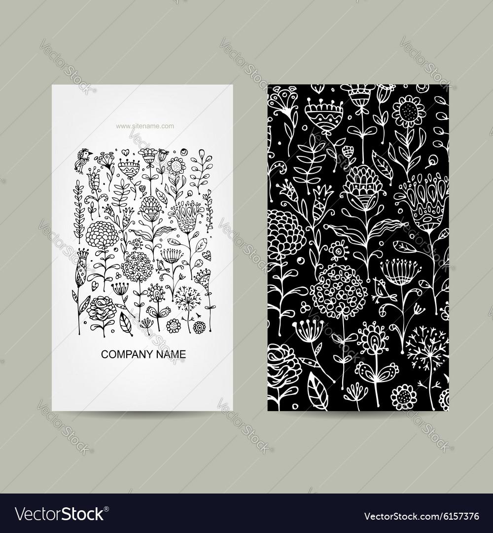 Vintage business cards floral design vector image