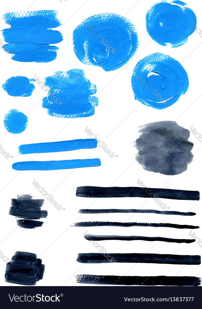 Blue and black watercolor blots vector image
