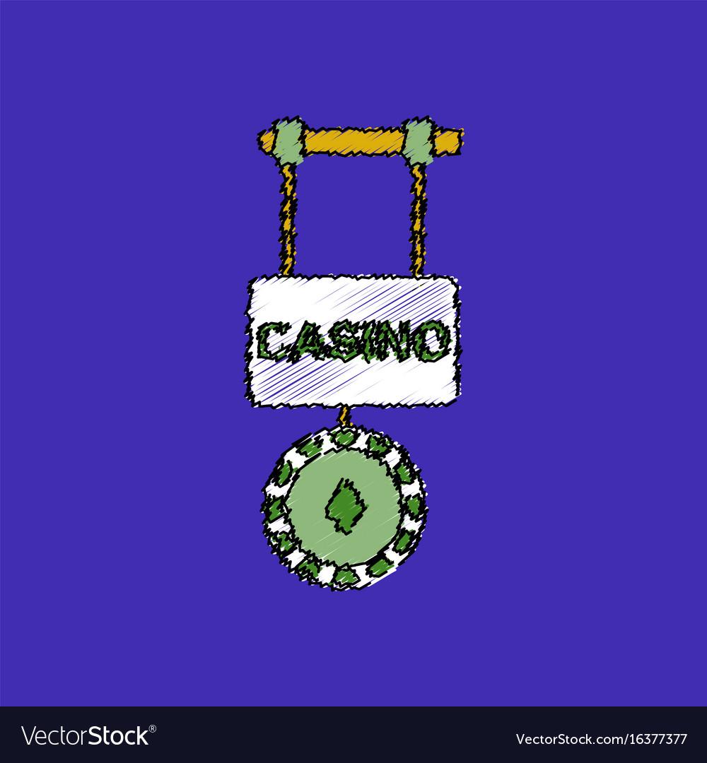 Flat shading style icon casino street banner