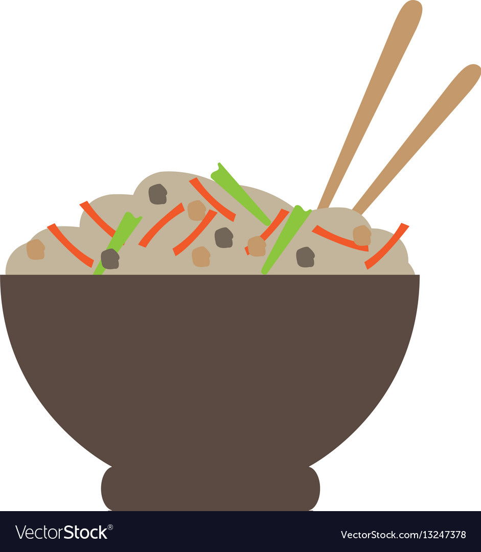 Isolated ramen bowl vector image