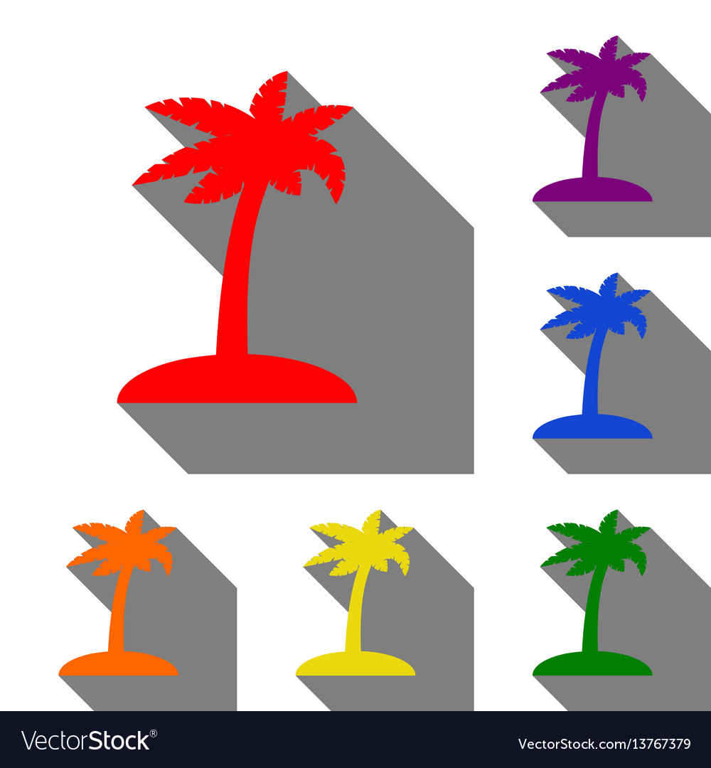 Coconut palm tree sign set of red orange yellow vector image