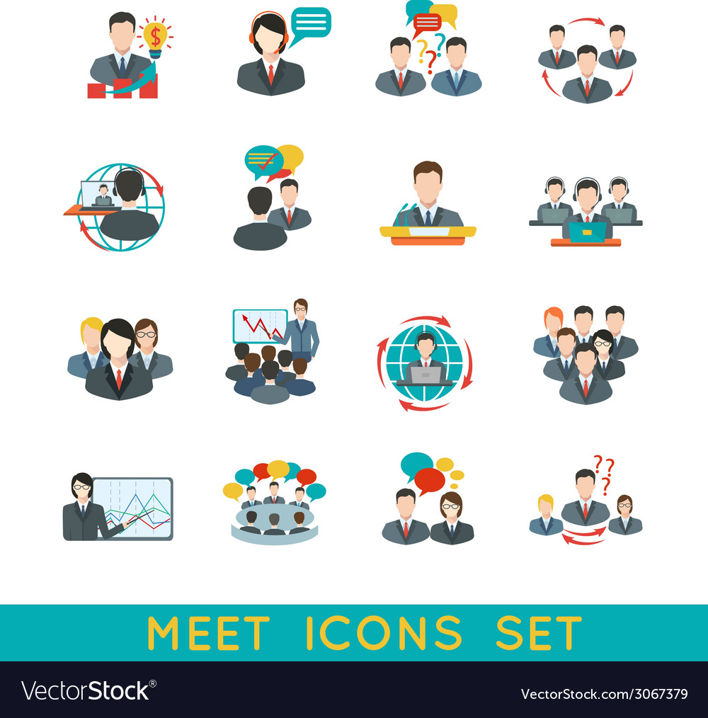 Meeting icons set flat vector image