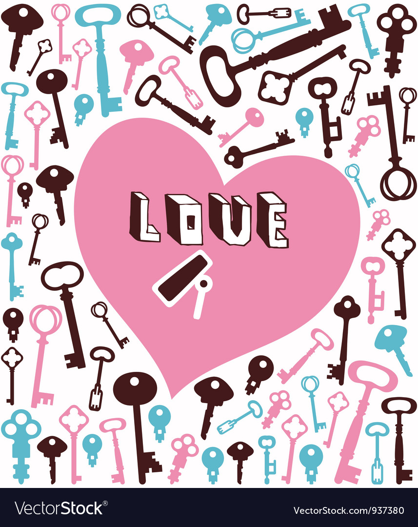 Key lock heart background vector image