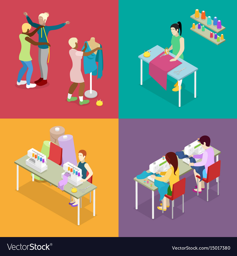Isometric dressmaker salon atelier with tailor vector image