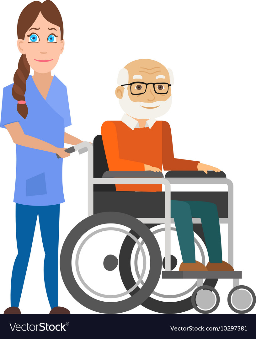 Young nurse pushing wheelchair with disabled old vector image