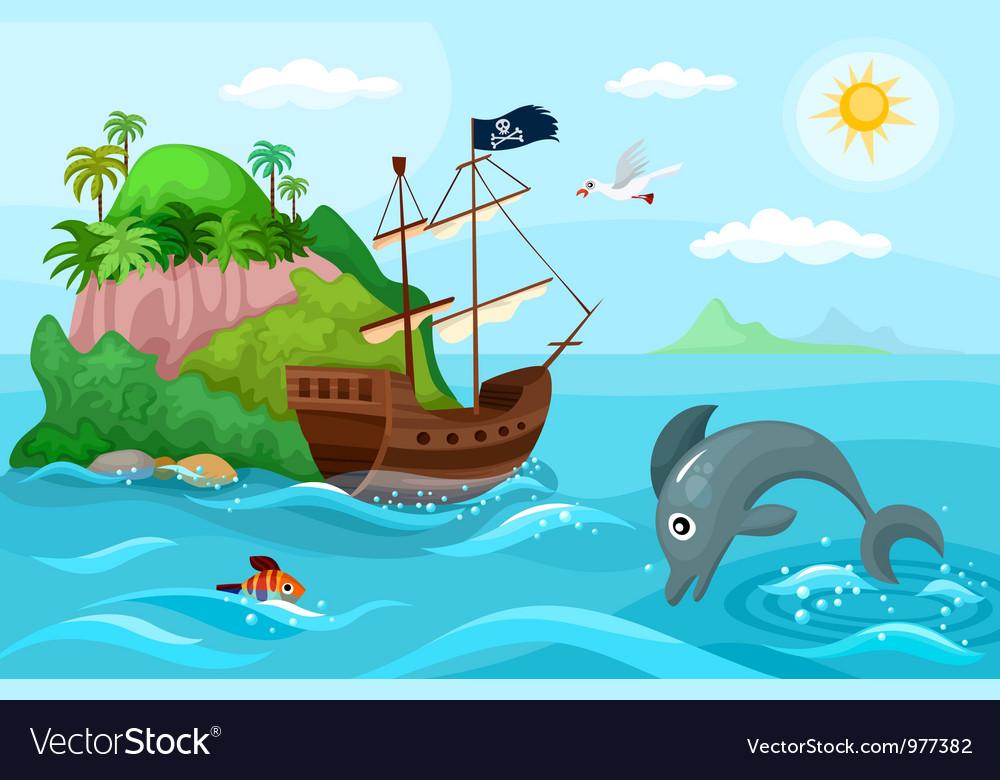 Pirates ship vector image