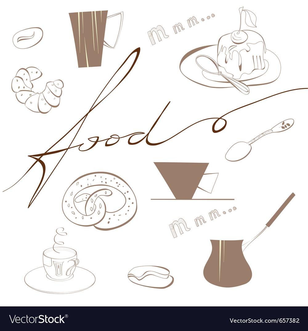 Inscription food vector image