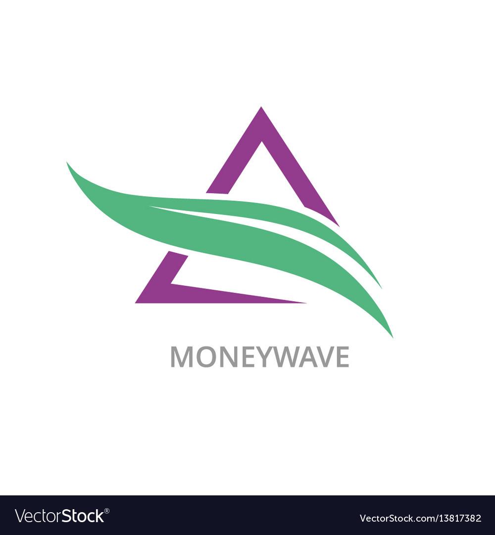Triangle money wave logo vector image