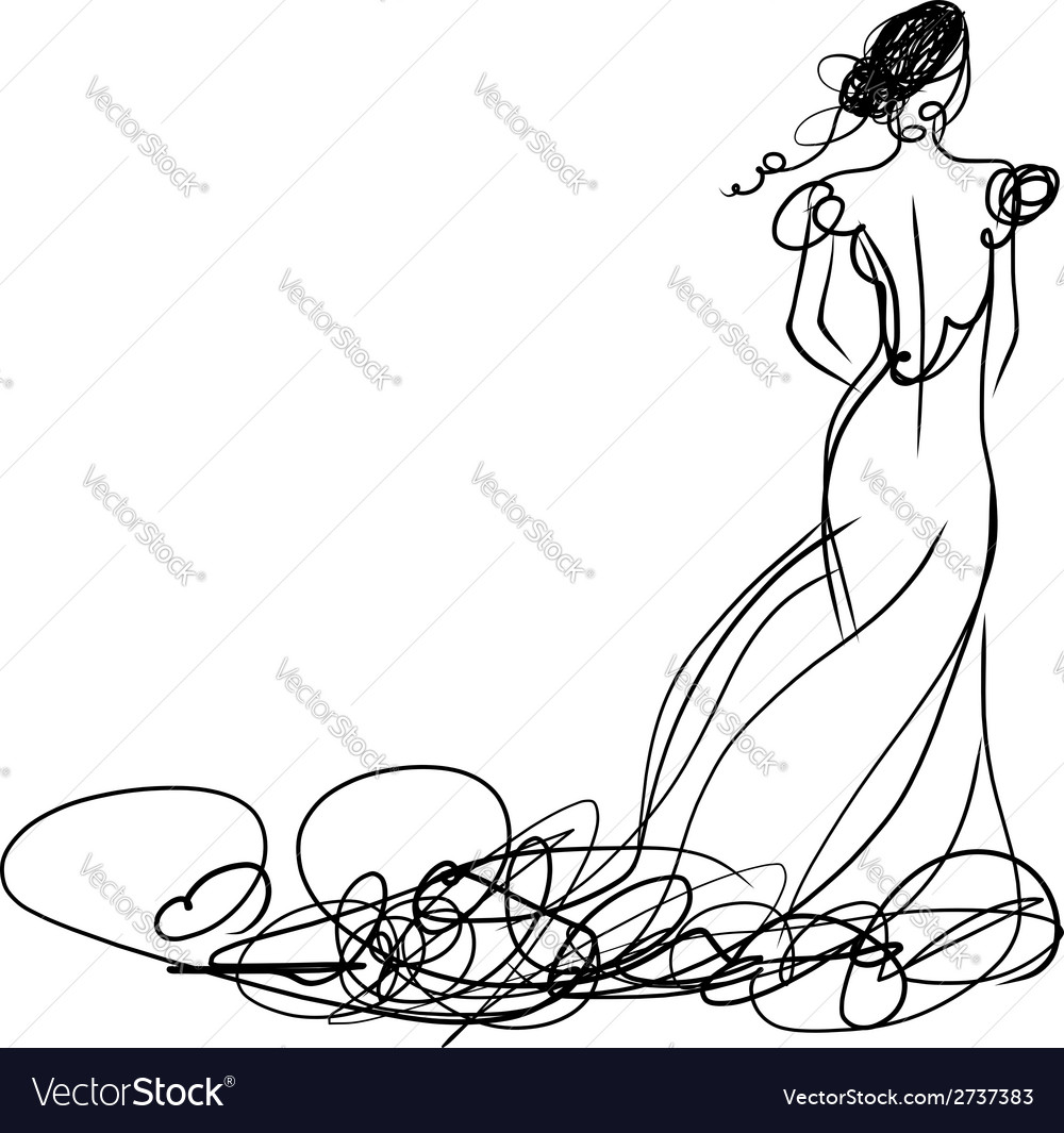 White dress drawing - Bride In White Dress Sketch For Your Design Vector Image