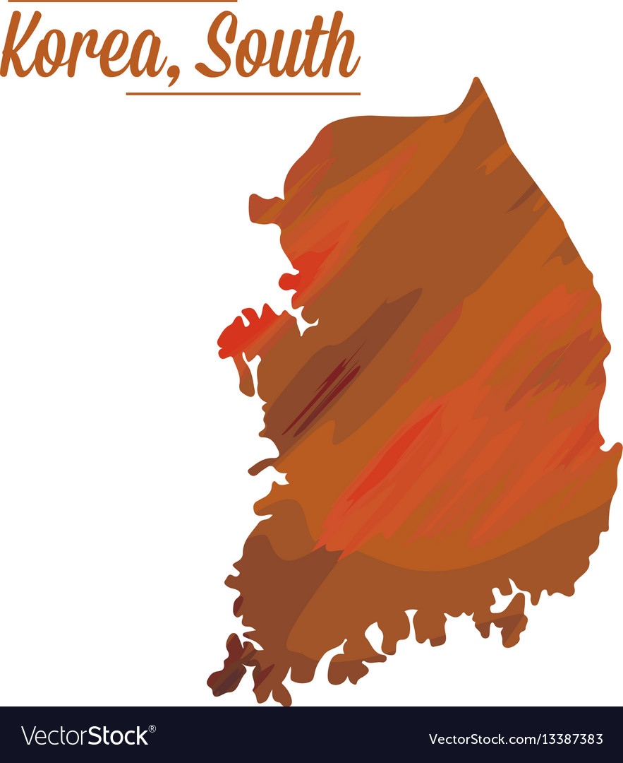 Isolated South Korean Map Royalty Free Vector Image - South korea map vector