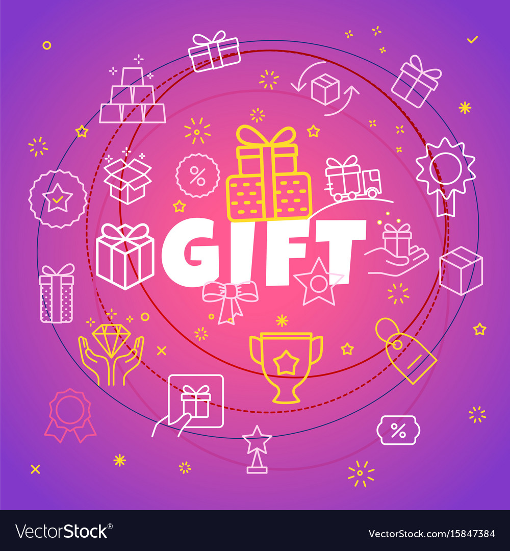 Gift concept different thin line icons included vector image